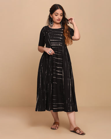 Stitched Black Cotton Tie-Dyed A Line Gathered Dress/Kurti