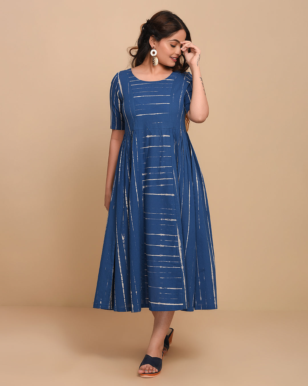 Stitched Blue Cotton Tie-Dyed Gathered Dress/Kurti