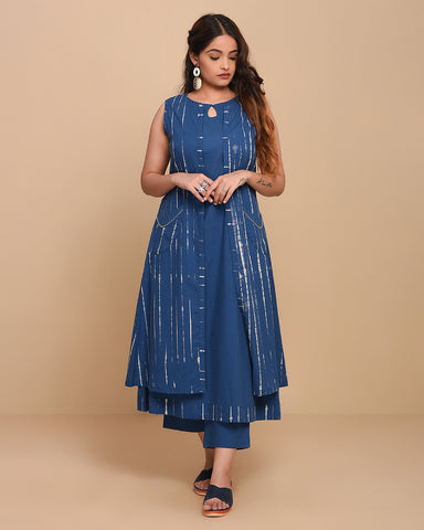 Stitched Blue Cotton Tie-Dyed Kurti Set With Jacket Layering