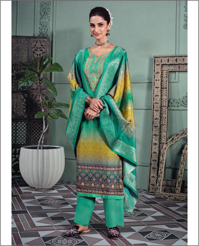 Ocean Green Muslin Printed Unstitched Suit Fabric Set With Embroidery