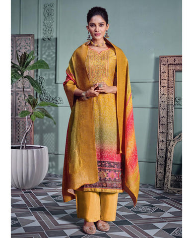 Mustard Muslin Printed Unstitched Suit Fabric Set With Embroidery