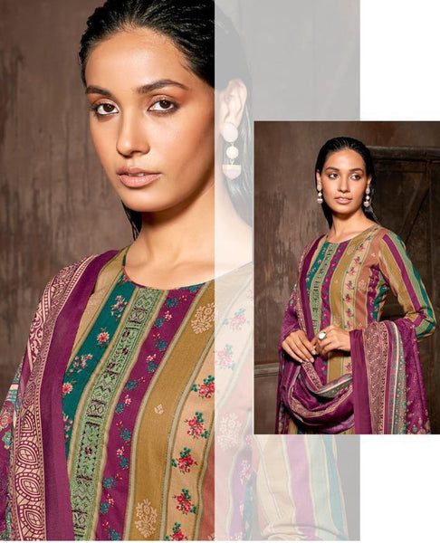 Wine Cotton Printed Unstitched Suit Fabric Set With Embroidery