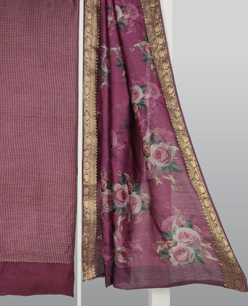 Wine Handloom Tussar Woven Suit Fabric Set