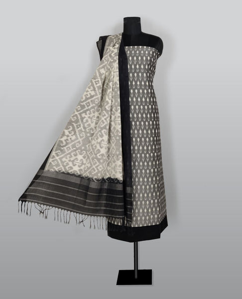 Grey Ikkat Handloom Cotton Suit Fabric Set