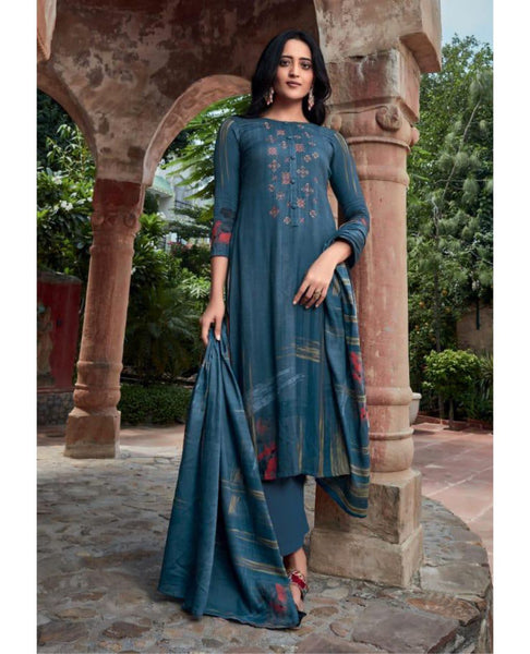 Blue Cotton Satin Unstitched Suit Fabric Set with Embroidery