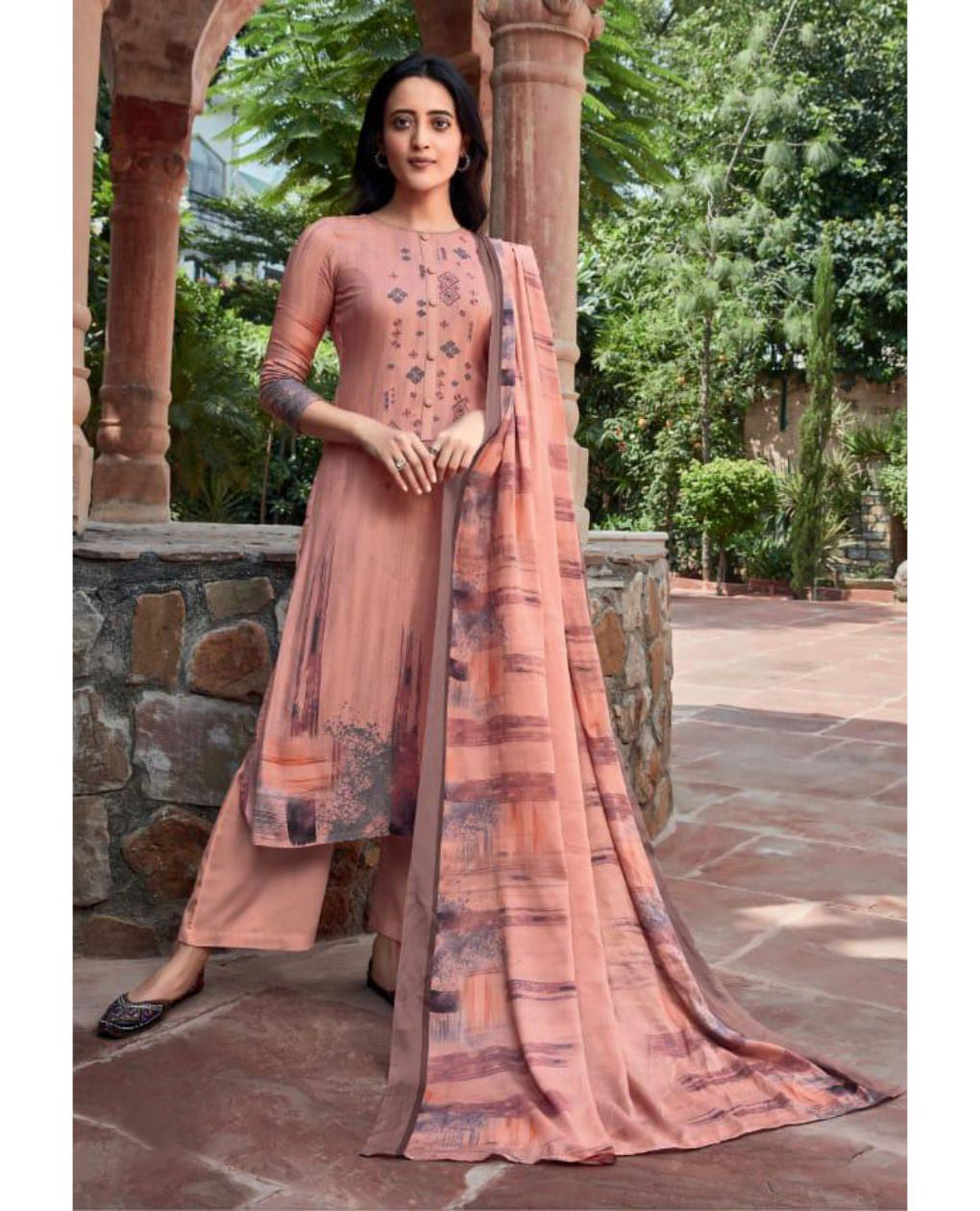 Peach Cotton Satin Unstitched Suit Fabric Set with Embroidery