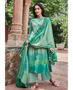 Light Green Cotton Satin Unstitched Suit Fabric Set with Embroidery