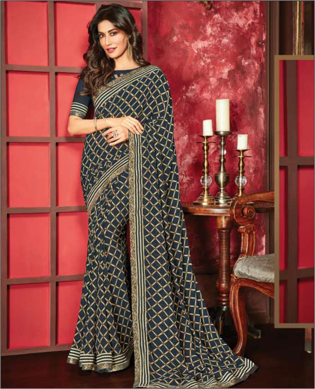 Navy Blue Color Georgette Printed Saree with Border