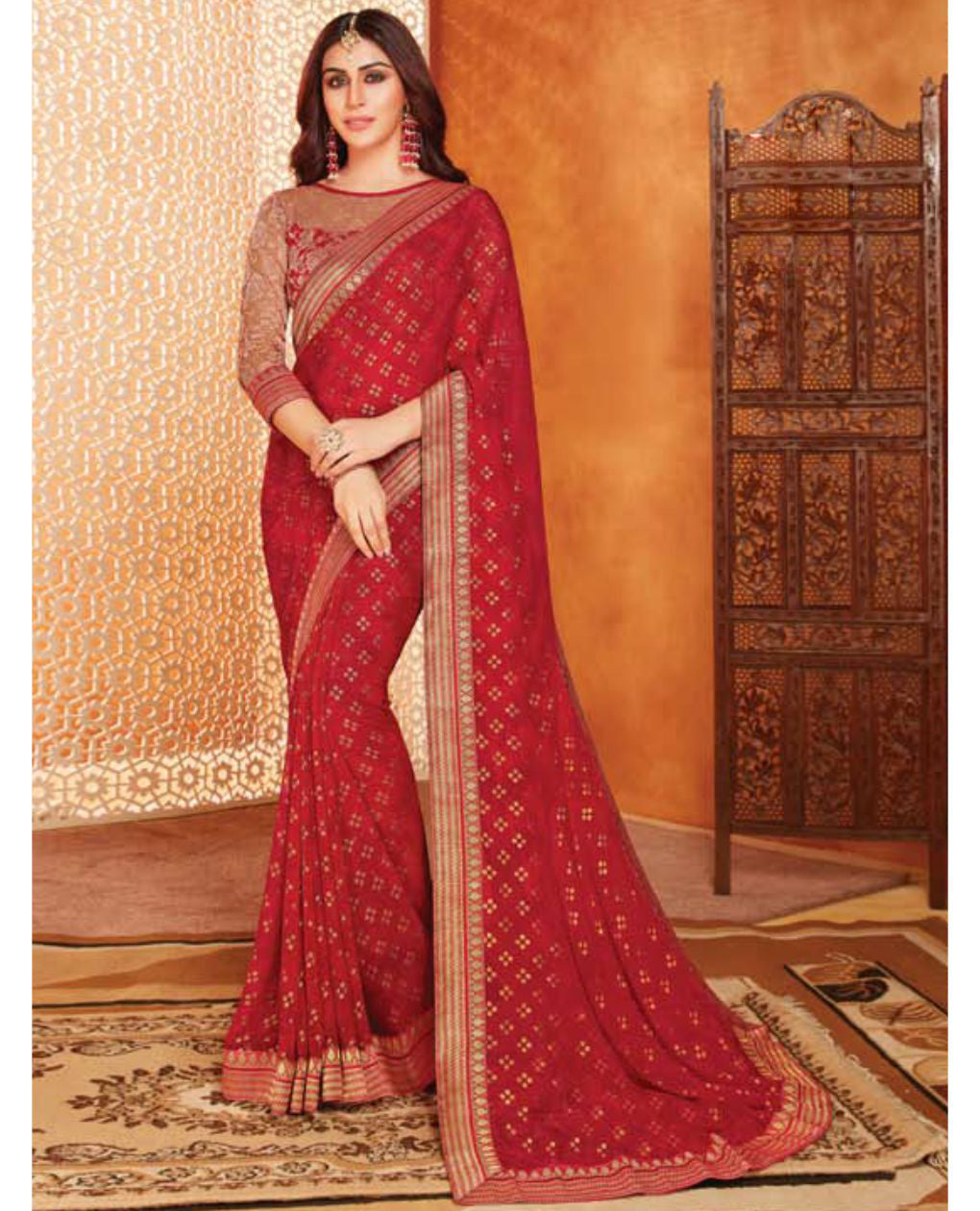 Deep Red Grorgette Printed Saree With Border