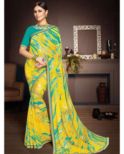 Yellow Color Georgette Printed Saree with Border