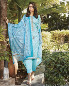 Sky Blue Cotton Printed Unstitched Suit Fabric Set with Embroidery