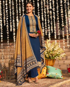 Electric Blue Cotton Glazed Unstitched Suit Fabric Set With Neck Embroidery