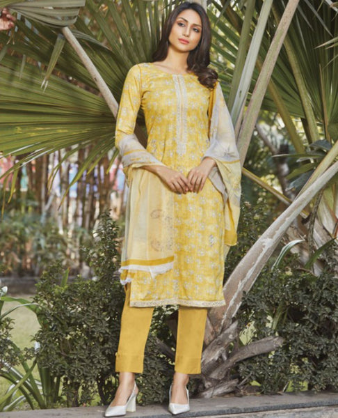 Yellow Cotton Printed Unstitched Suit Fabric Set with Embroidery