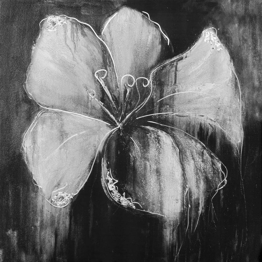 Abstract Flower, Black and White with Enhanced silver and silver leaf Canvas Art