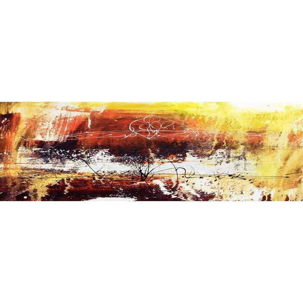 Fire, Brown (Long) with Enhanced black, red and white Canvas Art
