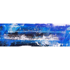 Fire, Blue (Long) with Enhanced black, red and white Canvas Art