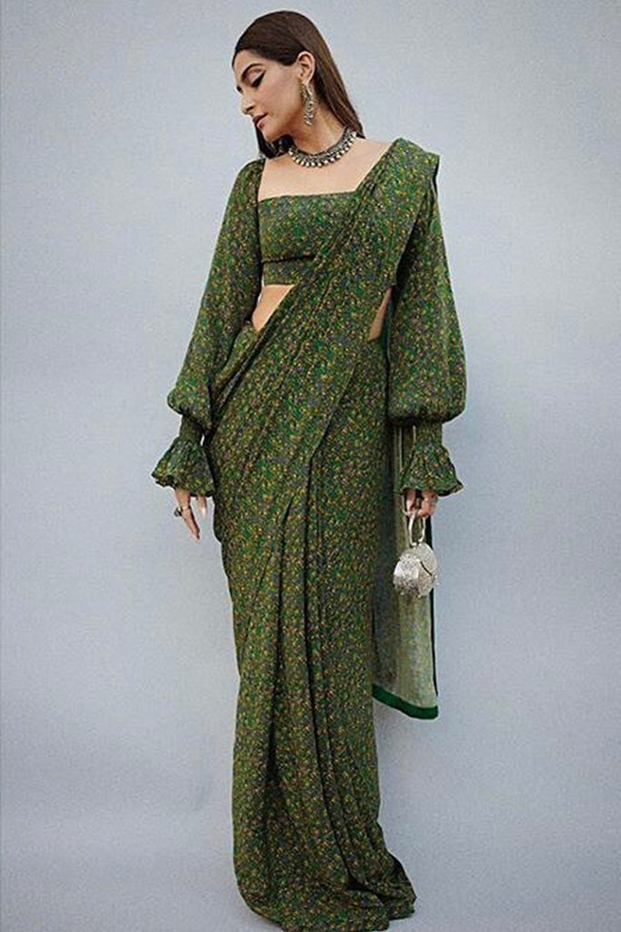 Emerald Floral Rush Sari & Blouse Piece