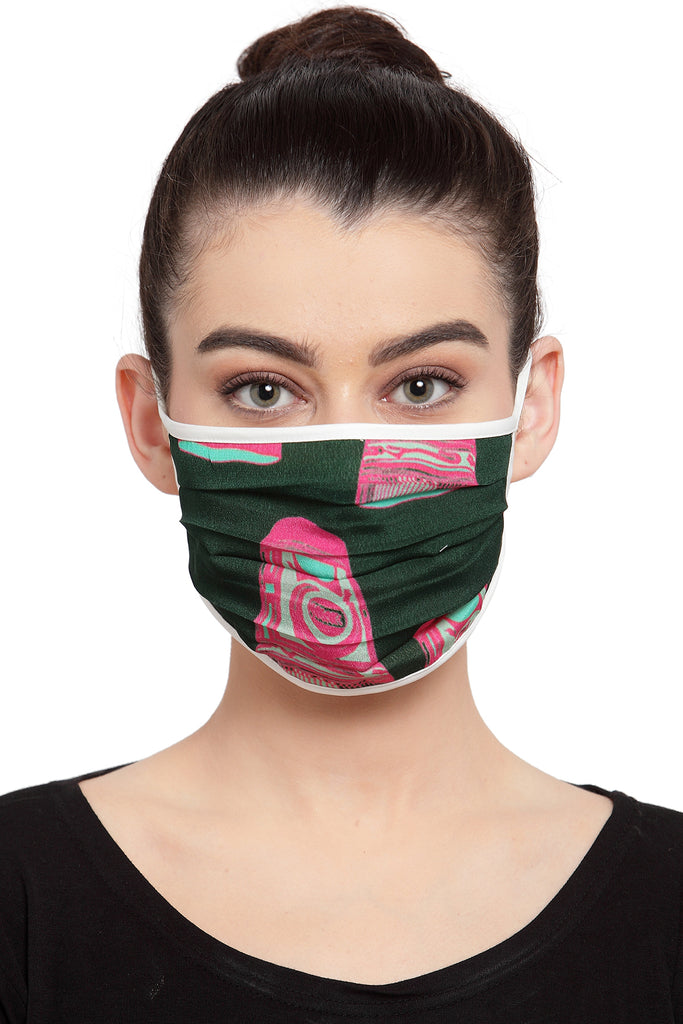 Reusable Unisex Mask - Green Vintage Glass Print