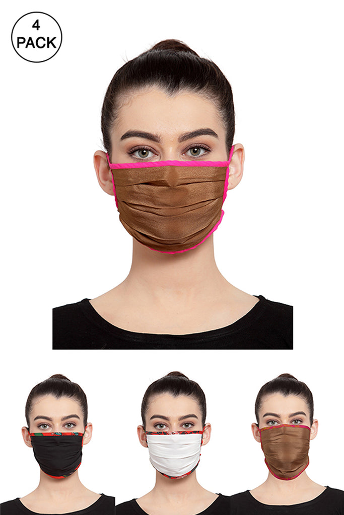 Reusable Unisex Face Mask- Pack of 4 -  Muted Masks
