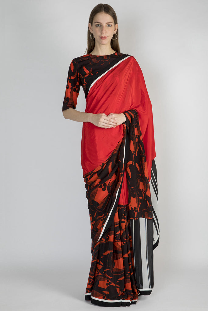 Red Grazing Cows Half & Half Sari With Blouse Piece