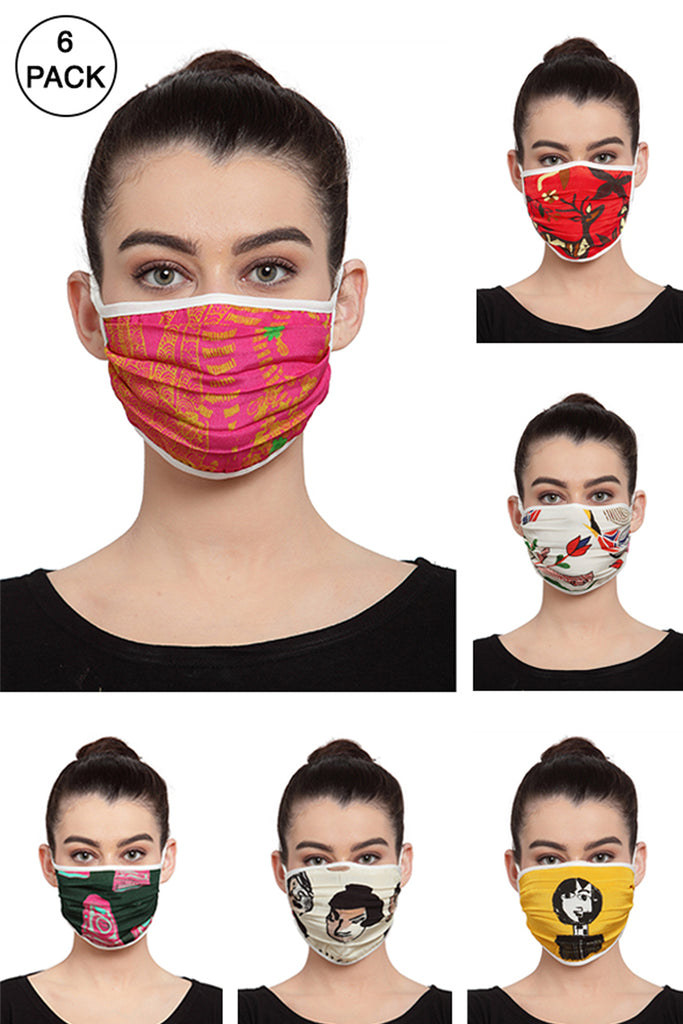 Reusable Unisex Face Mask- Pack of 6