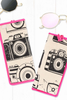 Masaba Camera Print Sunglass Case With Pink Piping