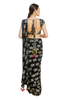 Black Tropical Banana Ruffle Pleated Saree Set