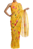 Yellow Allover Lotus Saree With Blouse Piece