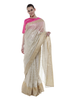 Tree Grid Palla & Blooming Garden Pleats Banarasi Sari