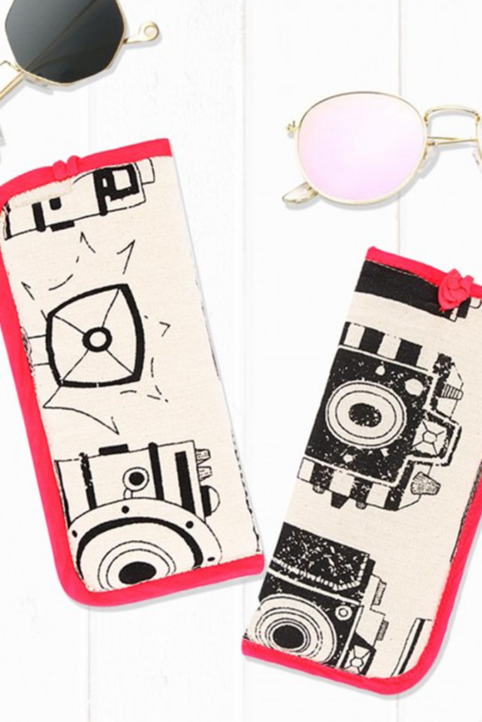 Masaba Camera Print Sunglass Case With Red Piping