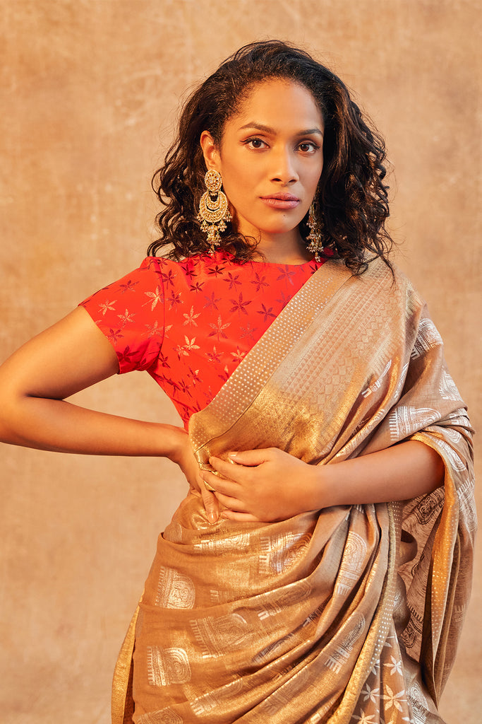 Brown Comb And Floral Sari Set