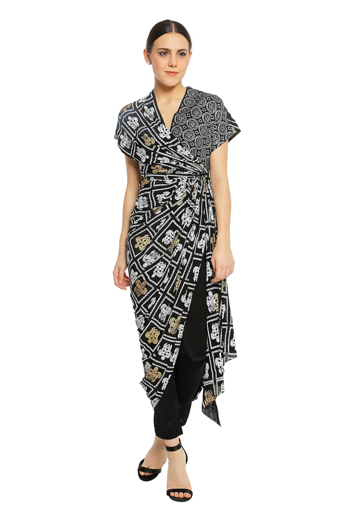 Turtle Grid Wrap Dress With Black  Pant