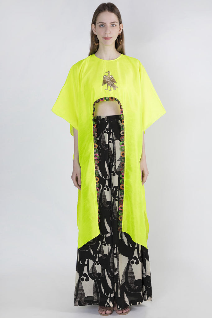 Neon Hi Low Crop Top & Ivory Grazing Cow Pant