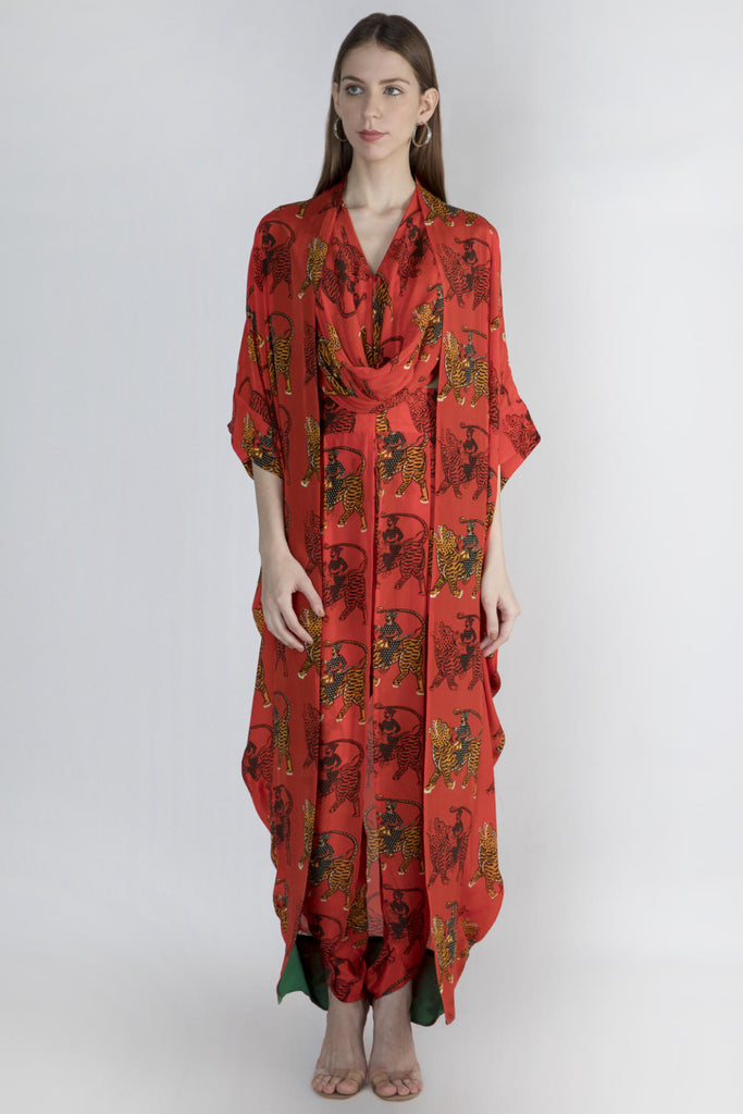 Red Sultan Print Cowl Top And Dhoti With Cape