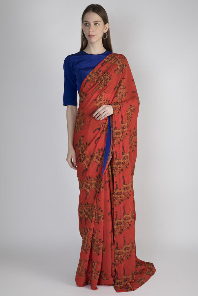 Red Troop Sari With Blue Blouse Piece