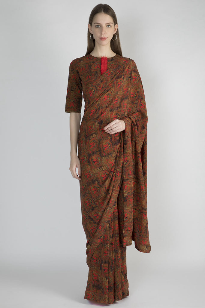 Red A Royal Affair Sari With Blouse Piece