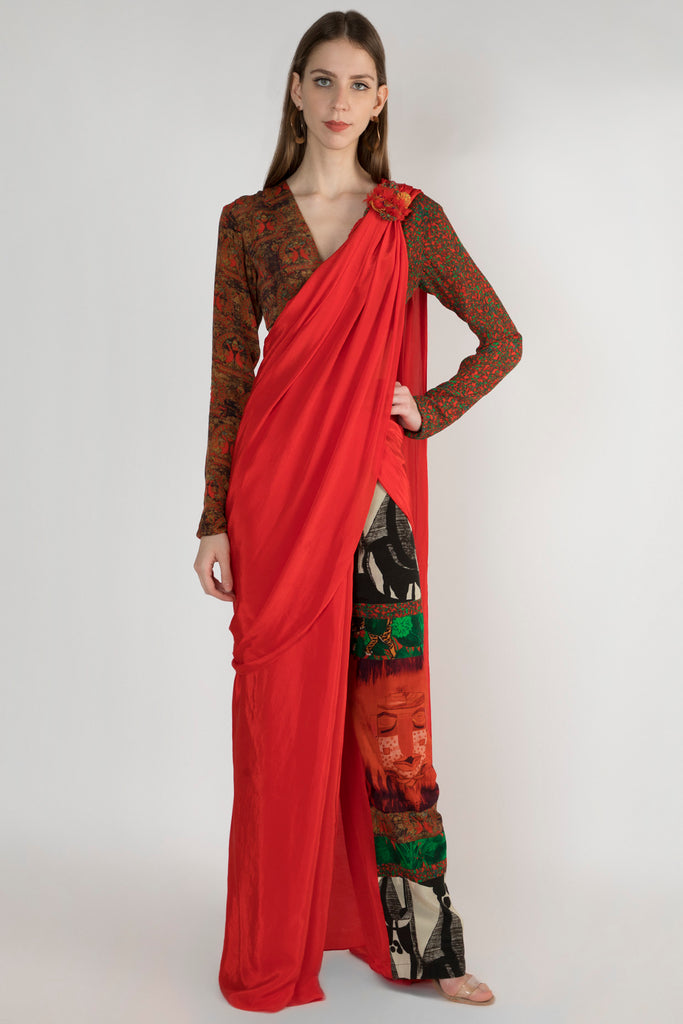 Red Patchwork Trouser Sari With Stitched Blouse