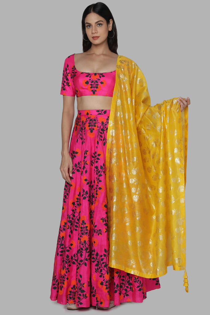 Hot Pink Floral Bloom Lehenga Set