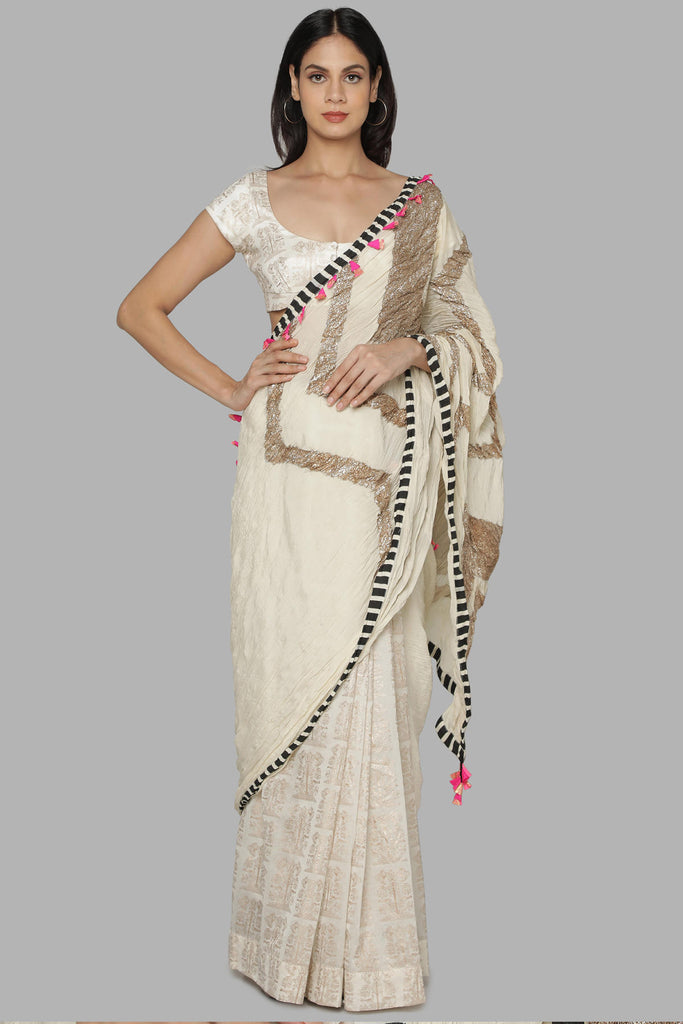 Ivory Bunch Of Birds Crinkle Gota Sari Set