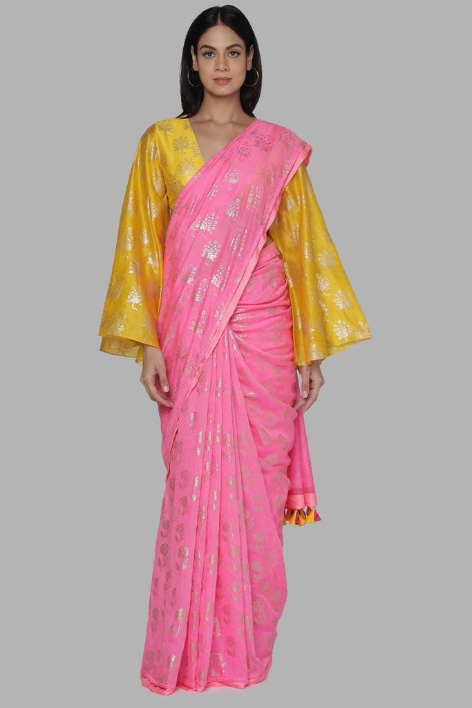 Candy Pink Star Flower And Marigold Sari