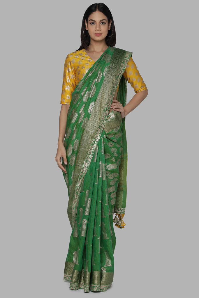Green Barfi And Blooming Pillar Sari Set