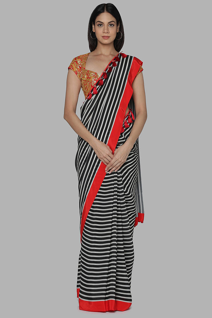 Black And White Stripes Sari Set