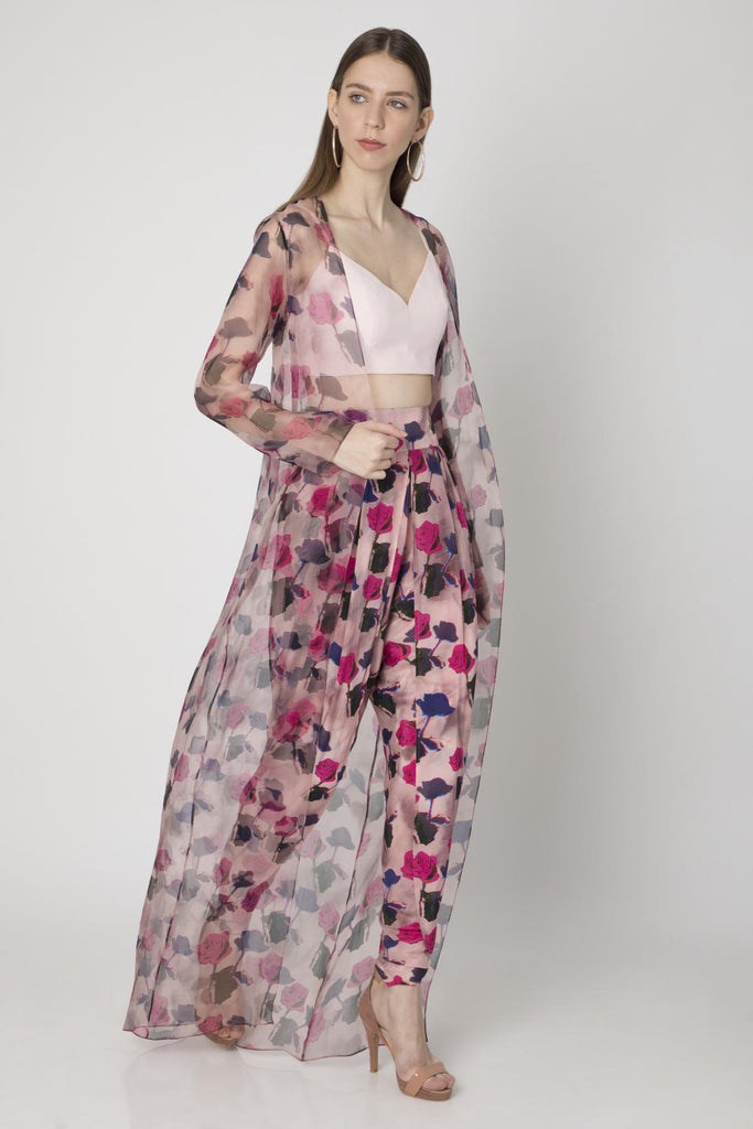 Pink Wispy Rose Print Cape With Dhoti And Bustier