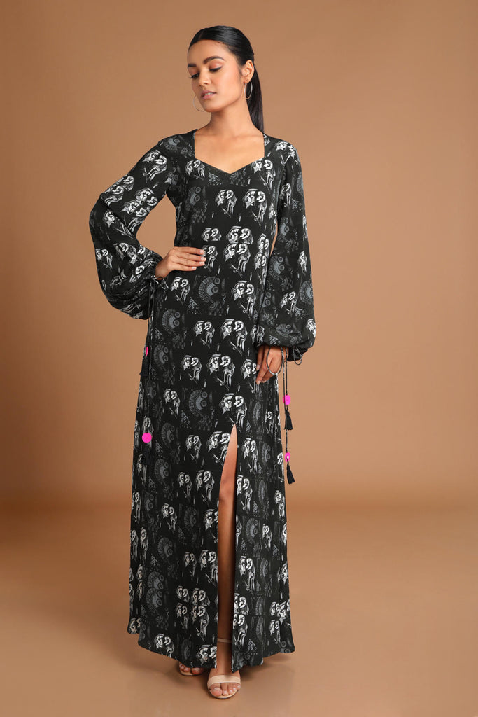 Black Puzzle Long Dress