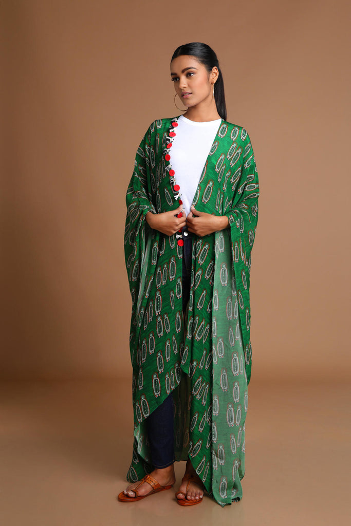 Green Swinging Dolls Kaftan Jacket