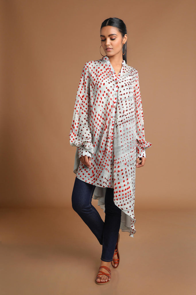 Grey Dots & Reflection Asymmetrical Shirt