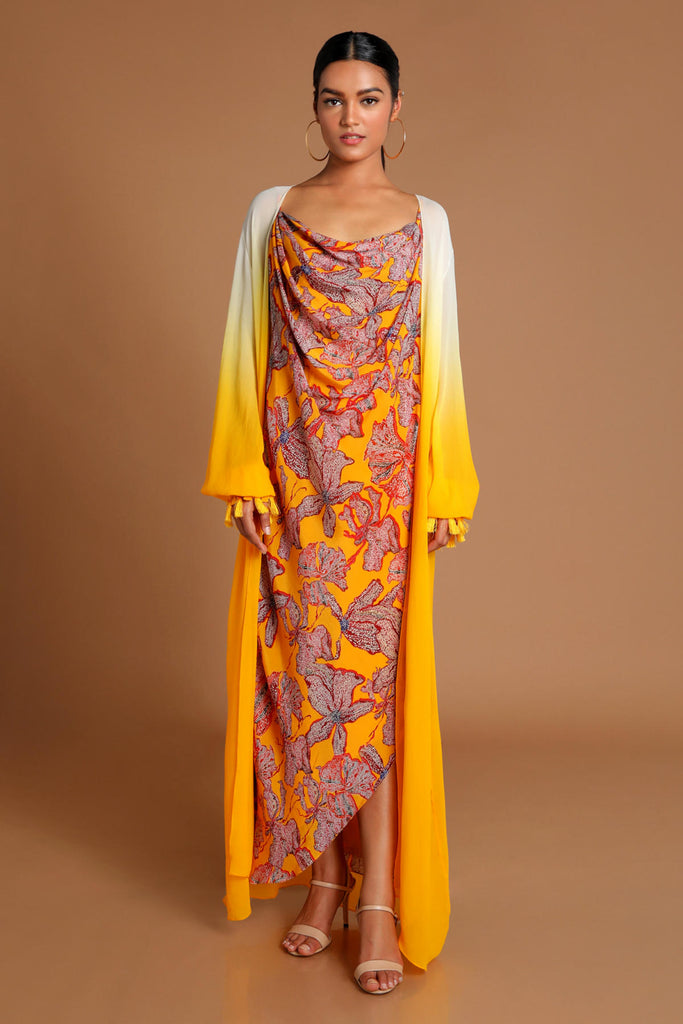 Yellow Wildflower Cowl Dress With Ombre Cape