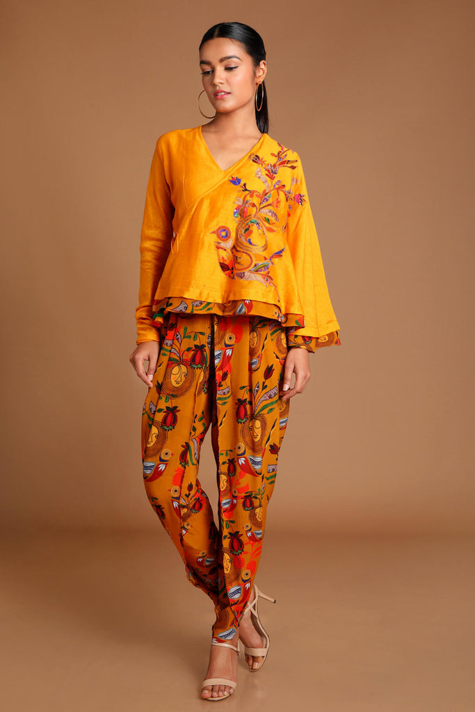 Mustard Applique Embroidered Angrakha Top With Dhoti