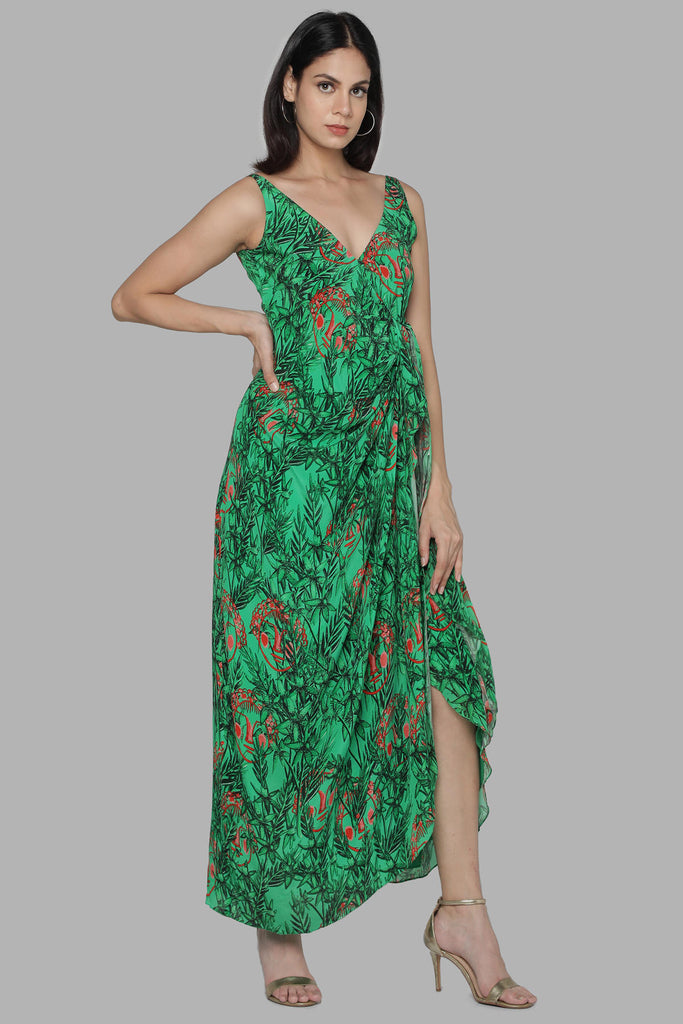Green Bamboo Print Wrap Dress