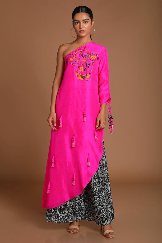 Pink One Shoulder Applique Embroidered Tunic With Pant